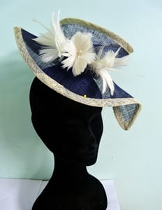 N.Joy.Millinery, Natalie Joy, Njoy, N.Joy, Natalie Joy Richards, Natalie-Joy, Natalie-Joy Richards, hat, hats, Milliner, millinery, mad hatter, hat maker, hat designer, fashion designer, fashion maker, costume designer, costume maker, headwear, headdress, headpiece, hairslide, hairclip, hair piece, hair comb, bridal, mother of the bride, bridal hair accessories, hair accessories, head band, Made in Cornwall, Cornwall, Truro, Sinamay, sinnamay, felt, lace, beading, swaroski crystals, pearls, 1920's headdress, black and white, top hat, cloche, beret, fascinator, fascinater, feathered headband, Navy blue sinamay, white sinamay, feather flowers, large fascinator, hatinator, sculpted hat, sculpted fascinator, handmade headband, coture, coture headband, one off design
