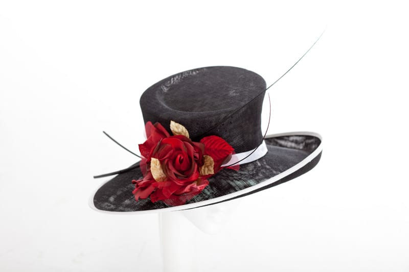 Large hats shop page njoy millinery a large slanted brimmed black sinamay hat with a sculpted crown edged in white with a large silkvelvet flower in tonal shades of red and mightylinksfo