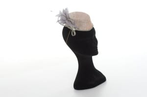 N.joy.Millinery, Natalie-Joy, Natalie Joy Richards, Natalie Richards, Njoy, N.Joy, Milliner, millinery, hatter, hat maker, mad hatter, hatastic, hat, hats, fascinators, headwear, head comb, headdress, hair slide, hair comb, hair clip, headband, hair band, handmade, couture, individual, one off, commision, bespoke, Truro, Cornwall, Sinamay, sinnamay, dusky pink sinamay, grey sinamay, silver sinamay, oyster coloured sinamay, oyster sinamay,, matallic sinamay, dove grey feather mount, feather mount, grey feather mount, grey feather, dove grey feathers,, millinery feathers, feathers, glass beading silver beads, hand beading, sinamay loops, sinamay bow, veiling, netting, veil, net, birdcage veiling, birdcage veil, hair elastic