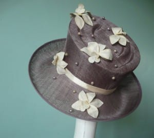Hat, Fascinator, Cream, Lilac, Sinamay, Orchid, pearl beading, satin band, sculpted crown, Natalie-joy, N.Joy.Millinery, fascinator, one off, couture, hand made