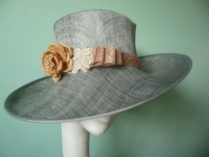 Natalie-Joy, N.Joy.Millinery,Silver, peach, pink, sinnay, vintage lace, bridal, flower, Swarovski crystals, hat, fascinator, couture, handmade, one off. sculpted corwn, hat, fascinato