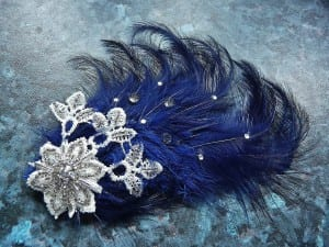 Fascinator, hair comb, Royal blue, feather spray, vintage lace, glass beading, Swarovski crystals, comb, Natalie-Joy, N.Joy.Millinery, one off, couture, hand made.