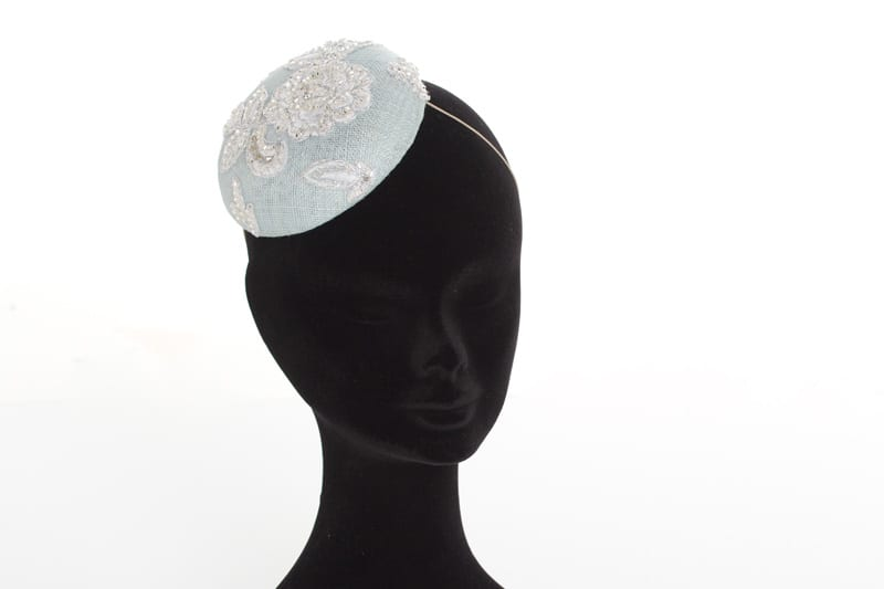 N.joy.Millinery, Natalie-Joy, Natalie Joy Richards, Natalie Richards, Njoy, N.Joy, Milliner, millinery, hatter, hat maker, mad hatter, hatastic, hat, hats, fascinators, headwear, head comb, headdress, hair slide, hair comb, hair clip, headband, hair band, handmade, couture, individual, one off, commision, bespoke, Truro, Cornwall, Sinamay, sinnamay, light blue sinamay, baby blue sinamay, vintage lace, white lace, corded lace silver lace, glass beading, diamante, swaroski crystals, silver embroidery, beaded lace, cocktail hat, hand beaded