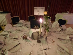 Atlantic hotel,newquay, Cornwall, seaside, Diamonds are forever ball, james bond, Marie Curie, Cargo, N.Joy.millinery,  hats headwear, fascinator, formal event, Die another day, table decoration, candlelight dinner