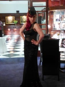 Natalie-Joy, N.Joy.Millinery, hats, headwear, fascinator, hair piece, headwear, comb, coture, Newquay, Cornwall, Marie Curie, The Atlantic Hotel, Cargo, evening wear, dresses, formal wear, gothic, top hat, mini tophat, fashion show, sleeveless, sequins, sparkles