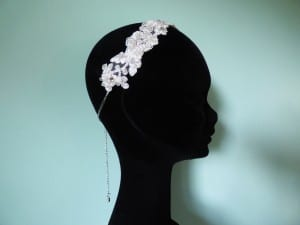 Coture, handmade, Truro, Cornwall, Natalie-Joy Richards, Natalie Richards, Natalie-Joy, N.Joy, Njoy, N.Joy, milliner, millinery, hat maker, headwear, head piece, head band, hair comb, hair jewllery, bride, bridal headwear, bride, bridal headwear, bridal head piece, gold ribbon,satin ribbon, floral lace, vintage lace, corded lace, bridal lace, white lace, ivory lace, seed beads, glass beads, gold thread, silver thread, chain, hair chain, pendant