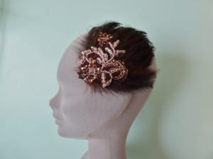 Coture, handmade, Truro, Cornwall, Natalie-Joy Richards, Natalie Richards, Natalie-Joy, N.Joy, Njoy, N.Joy, milliner, millinery, hat maker, headwear, head piece, head band, hair comb, hair jewllery, dark chocolate,coffee coloured, feather pad, corded lace, floral lace, brown lace, brial lace, hair clip, seed beads, gold beads, bronze beads,