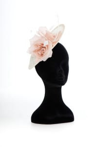 N.Joy.Millinery, Natalie-Joy Richards, Natalie-Joy, N.joy, Njoy, Njoy. Millinery, milliner, hat maker, hatter, hatastic, mad hatter, coture, coture millinery, handmade, handcrafted, hats, headwear, fascinator, small hat, large hat, bridal headwear, headband, head comb, head dress, headdress, hair comb, head piece, hair flower, sinamay, sinnamay, large hat, small hat, fashion, fashion designer, fashion maker, costume, costume designer, costume maker, Truro, Cornwall, Uk, ivory sinamay, dusky pink silk flower, silk flower, saucer hat, saucer base, stripped feathers, diamond cut feathers, white feathers, millinery feathers, handmade headband, coture headband, swaroski crystals, swaroski elements