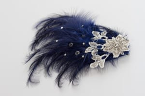 Feathered hair slide, feathered hair comb, feathered hair piece, feather pad, Millinery feathers, feather spray, navey feathers, royal blue feathers, vintage lace, white lace, beaded lace, glass beads, silver beads, swaroski crystals, flower lace, flora lace, N.Millinery, Njoy, N.Joy, N.Joy.Richards, Natalie-Joy Richards, Natalie Richards, Natalie-Joy, N-Joy, Hatter, millinery, Milliner, hair piece, hat designer, hat maker, fashion designer, costume designer, Made in Cornwall, Cornwall, Truro, Hat, headwear, fascinator, headband, headdress. headpiece.