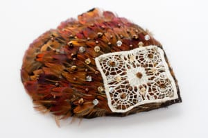 Pheasent comb, pheasent feathers, pheasent neck feathers,  feather pad, pheasent pad, vintage lace, swaroski crystals, natural feathers, hair comb, hair slide, feather hair comb, feather haie slide, bicone beads, glass beads, woodland feathers, gold beads, bronze beads, copper beads, N.Joy.Millinery, Njoy, N.Joy, N.Joy.Richards, Natalie-Joy Richards, Natalie Richards, Natalie-Joy, N-Joy, Hatter, millinery, Milliner, hair piece, hat designer, hat maker, fashion designer, costume designer, Made in Cornwall, Cornwall, Truro, Hat, headwear, fascinator, headband, headdressm headpiece.