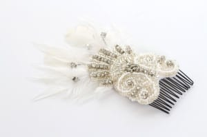 Bridal head wear, bridal head piece, bridal headress, bridal hair clip, diamonte, swaroski crystals, silver embroidery, beaded lace, floral lace, silver beads, class beads, 1920's headdress, 1920's headpiece, 1920's headwear, 1920's inspired headdress, fan styled haircomb, pearl beading, diamontes, silver beading, glass beading, millinery feathers, white feathers, white feather pad, 1920's fan, bridal fan, N.Joy.Millinery, Njoy, N.Joy, N.Joy.Richards, Natalie-Joy Richards, Natalie Richards, Natalie-Joy, N-Joy, Hatter, millinery, Milliner, hair piece, hat designer, hat maker, fashion designer, costume designer, Made in Cornwall, Cornwall, Truro, Hat, headwear, fascinator, headband, headdress. headpiece, clam shell, beaded clam shell, shell style comb, embroidered shell comb, shell comb slide, beaded shell clip, gold pearl imitation beads, Art deco comb, art deco head piece, art deco clip, art deco headdress, art deco hair comb, diamonte spray, diamonte beading