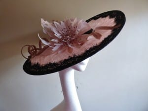 N.Joy.Millinery, N.Joy, Natalie-Joy, Natalie. Joy, Natalie Joy Richards, Natalie-Joy Richards, Milline, millinery, hat maker, mad hatter, desiger, fashion designer, costume designer, Costume maker, Hat, headwear, head piece, headdress, headband, black eyelash lace, lace trim, feather flower, spiky feather flower, sinamay, sunamay loops, sinamay twists, pink sinamay, pale pink sinamay, dusky pink sinamay, black sinamay, sinamay hat, race hat, large hat, slanted brim, mother of the bride hat, mother of the groom hat, military wedding,, cornwall, Truro, handmade, Made in Cornwall